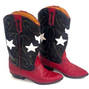 The Leather Collection Patriotic Flag Boots